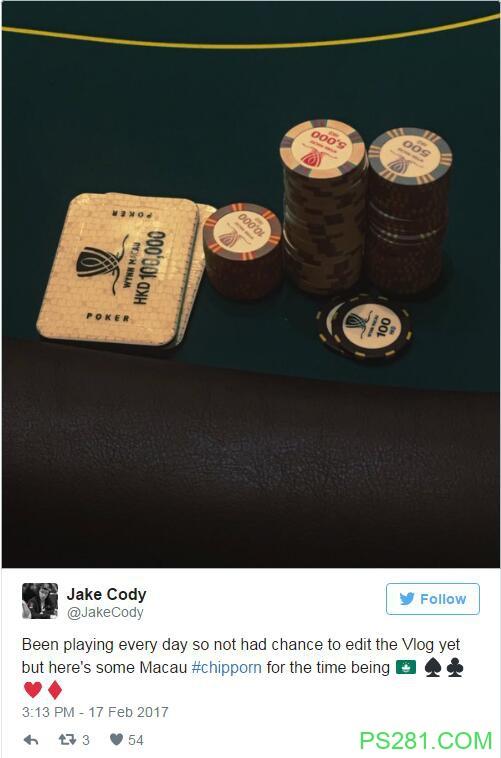 【6upoker】Jake Cody奔赴澳门,参加传说中的豪客局