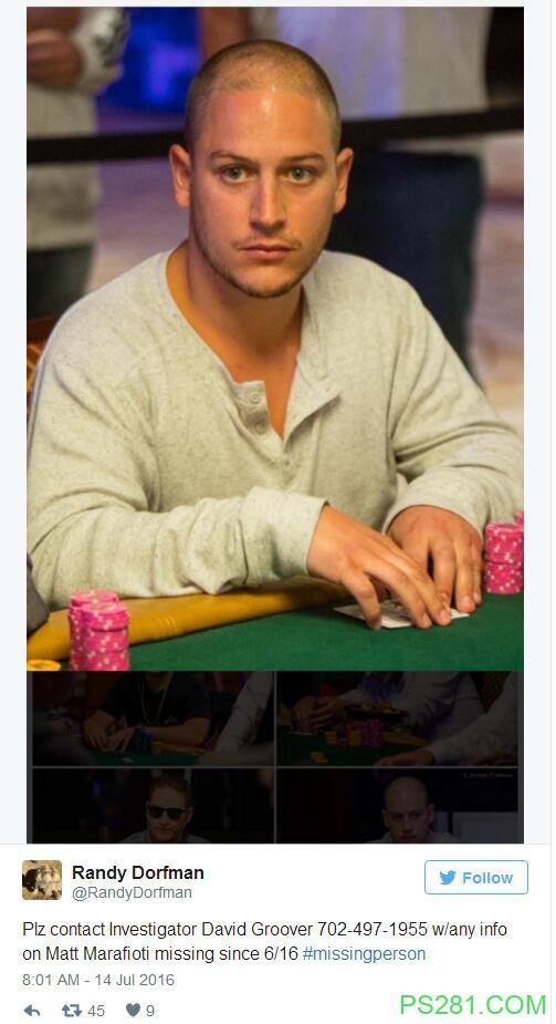 【6upoker】线上高额桌职业牌手Matt Marafioti失踪
