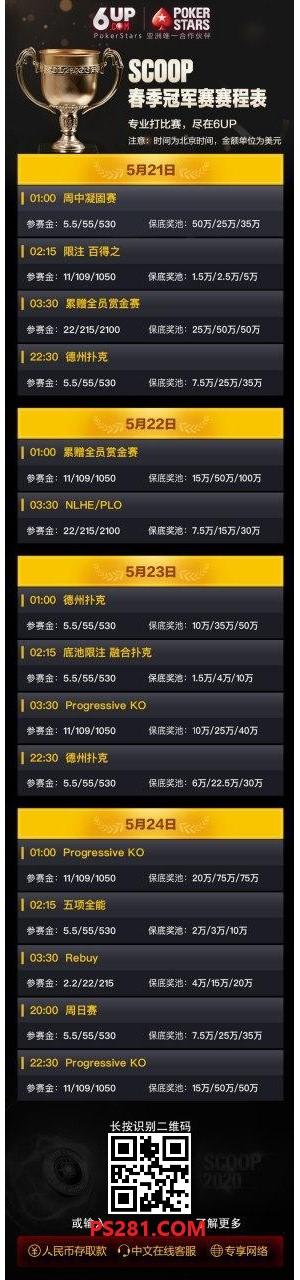 【6upoker】扑克之星SCOOP大赛引爆全球,官方延长赛事至5/31